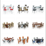 10ravens 3D Models collection 024 Modern dining furniture 01