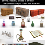 Decor Set  Baskets Books Bottles & Chests