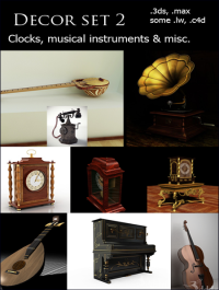 Decor Set 2 Clocks Musical Instruments & Misc