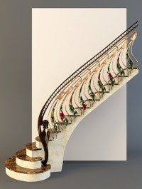 Stairs with golden handrail