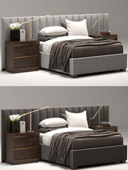 Rh Modern Custom Vertical Channel Extended Headboard Bed