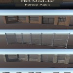 PBR Modular Fence Pack VR / AR / low-poly 3D model
