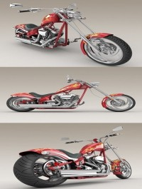 Big Dog K9 Chopper Motorcycle 3d Model