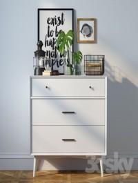 Dresser Mid Century 3 Drawer Dresser + decor
