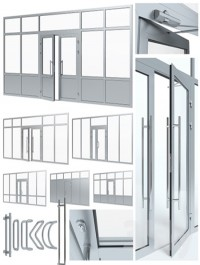 Aluminium door with partitions