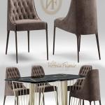 Turbosquid Table and chair vittoria frigerio Poggi High capitonne