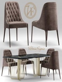Turbosquid Table and chair vittoria frigerio Poggi High capitonne
