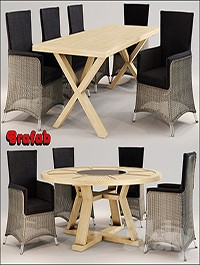 Wicker chair and two tables Brafab
