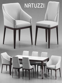 Table and chairs Natuzzi minerva, Saturno, Vesta