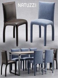 Table and chairs natuzzi Hedi