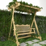Swing for garden, grass and wall