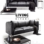 Living divani leather rod sofa