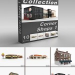 DigitalXModels 3D Model Collection Volume 36: CORNER SHOPS 1