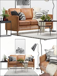 Scandinavian livig set 2. West Elm Hamilton sofa