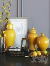 Decoration set yellow vases
