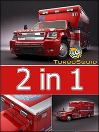Turbosquid 3D Model Emergency Ambulance Truck 2in1