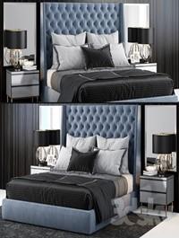 Sandringham Velvet Upholstered Winged Bed