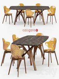 Calligaris Jungle table Saint Tropez wood chair