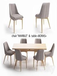 Table set, Boras table, Marble chair