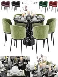 EICHHOLTZ Dining Table Turner & Chair Filmore & Décor set