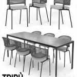 TRIBU Contour Armchair and ILLUM table