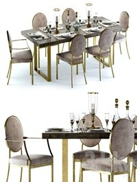 Eichholtz Melchior Table and Scribe Chairs