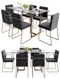 CB2 rouka chair & rectangular dining table