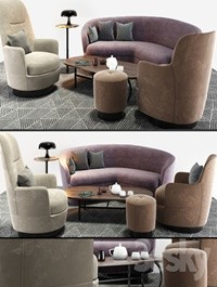 Minotti Sofa And Arm Chair Set