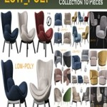 Cgtrader ARMCHAIR Collection 10 Pieces 3d model VR / AR / low-poly 3d model