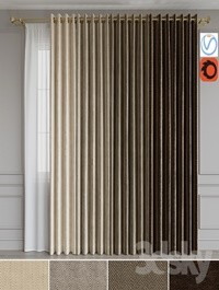 A set of curtains on the rings 15. Beige range