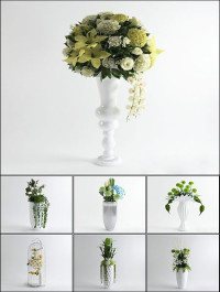 3D Models Floor Vases Flower Collection from 3D66
