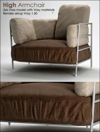 High Armchair 3D model