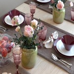 Serving table with tea roses