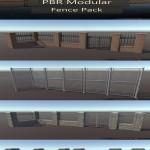 PBR Modular Fence Pack VR / AR / low-poly 3D model