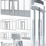 Aluminium door with partitions