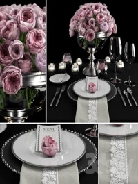 Serving with roses / Table setting with roses