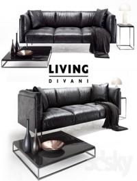 Living divani leather rod sofa