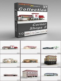 DigitalXModels 3D Model Collection Volume 37: CORNER SHOPS 2