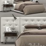RH Modern custom diamond tufted fabric headbord bed