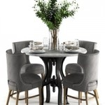 Ashford Task Chair with Hobbs Round Dining Table-marble top