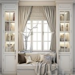 Soft area at the window – a sofa with pillows, blankets, curtains, cabinets and decor.