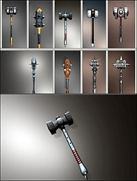 CGTrader - Fantasy Mace-hammer Collection Pack low poly 3D model