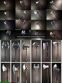 CGTrader - Fantasy Axe Collection Pack Low-Poly 3D Model