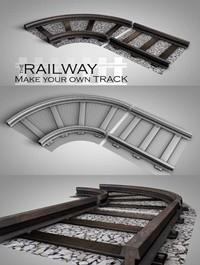 LowPoly Railway VR / AR / 3D model