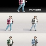 Humano Casual woman in checkered shirt Walking and talking 0214 3D model