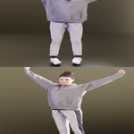 Casual Girl Stretching Scanned 3d model