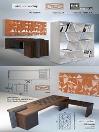 Table 3D panel shelving books