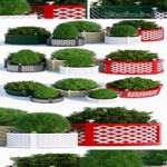 Round treillage planters