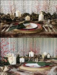 Christmas table setting Pottery Barn