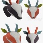 Decorative gazelle head in bright fabric SOFTHEADS